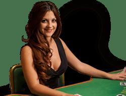 croupier sur table de blackjack