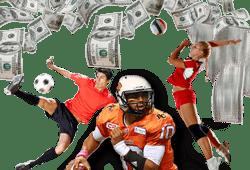 joueurs de foot, rugby et volley avec billets $