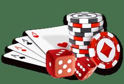 jetons de casino, cartes et dés